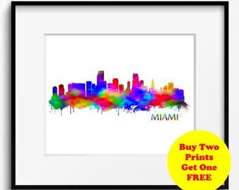 Miami Skyline, Watercolor Art Print (289)Miami Cityscape, Florida Art Print, USA Poster,Abstract Art Print, Miami Art Print,Miami Watercolor