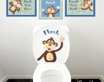 Kids Bathroom Wall Art, Monkeys Wall Decal for Kids Bathroom Decor, Peek a Boo Monkeys Wall Art, Bathroom Prints, Door Sign Kids Bathroom