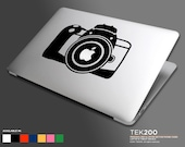 Macbook sticker DSLR modern camera. Photography die cut vinyl decal for Macbook Air Pro and Retina display 037
