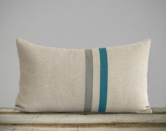 Biscay Bay & Stone Gray Striped Linen Lumbar Pillow Cover (12x20) Home Decor by JillianReneDecor - Jewel Tone Decorative Pillows - FW2015