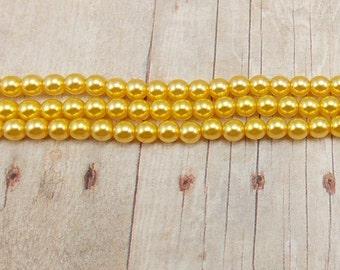 "4mm Czech Glass Pearls - Warm Yellow - 7.5"" Strand - 50 Pearls - Goldenrod - Golden Yellow - Sunbeam"