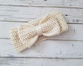 Bow Ear Warmer, Baby, Toddler Ear Warmer, Bow Headband, Crochet Bow Head Wrap, Bow Headband, Bow Ear Warmer, Ear Warmer, 12-24, READY 2 SHIP