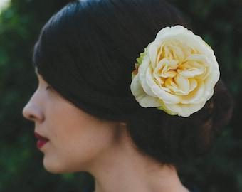 Yellow Rose Hair Clip, Yellow Rose Hair Flower, Yellow Rose Hair Accessory, Yellow Hair Flower, Yellow Floral Hair Clip