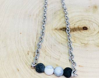 "Essential Oil Diffuser Necklace, 18"" Diffuser Necklace, Aromatherapy Necklace, Lava rock, Howlite beads, Silver Plated Cable Chain"