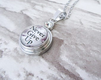 NEVER GIVE UP Figure Skating Snap Button Charm Necklace Ice Skating Gift