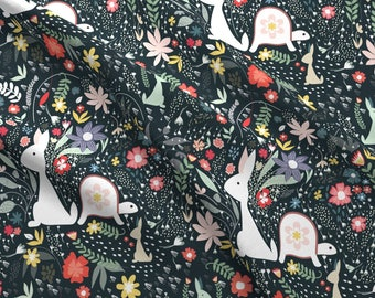 Tortoise And The Hare Fabric - Hurry-Me-Not By Lynnpriestleydesign - Tortoise And The Hare Cotton Fabric By The Yard With Spoonflower