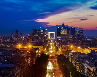 France - Paris -  View on La Defense and Champs-Elysees at sunset - SKU 0074
