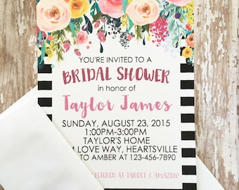 12 watercolor floral bridal shower invitations, printed striped watercolor flower bridal shower invites, flower striped bridal shower invite