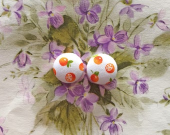 Wholesale Earrings / Fabric Covered Button Earrings / Post Earring / Orange Fruit Print / Birthday Earring/ Made in USA / Hypoallergenic
