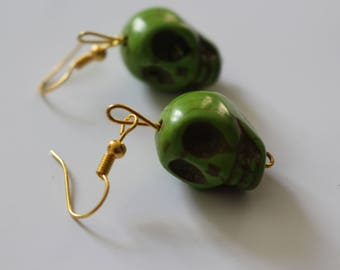 Green novelty gothic skull earrings