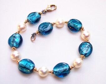 Gold Pearl Bracelet, Gift for Her, Royal Blue Lampwork Glass, June Birthstone, Gold Bracelet, Heart of the Ocean