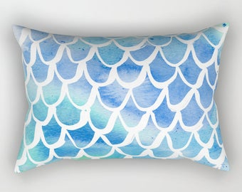 Mermaid Lumbar Pillow . Toddler Pillow . Scallop Pillow . Watercolor Bed Pillow . Rectangle Pillow . Mermaid Pillow . Travel Pillow 14 x 20