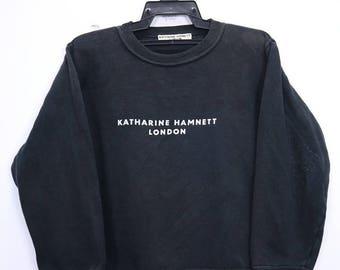 Vintage Katharine Hamnett London sweatshirt Small Logo spellout Medium size Black colour Made in Italy