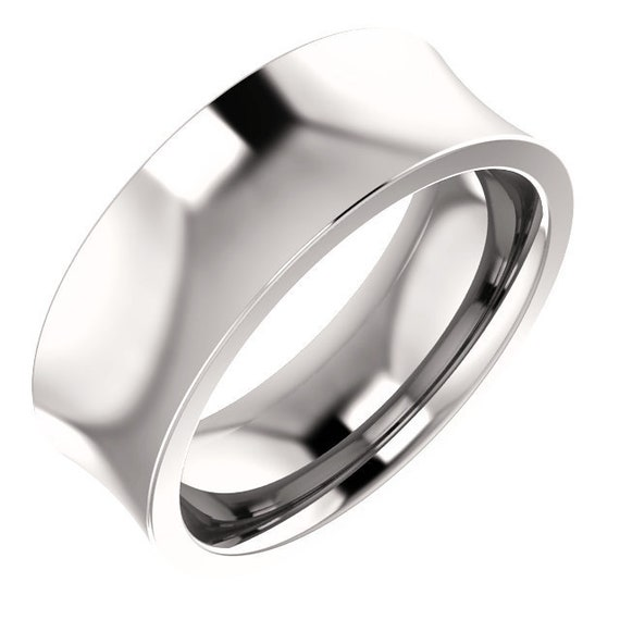 14K Yellow White Rose Gold Concave Wedding Ring Stackable Anniversary Band All Sizes Available