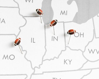 Football Push Pins, Set of 4. Sports Map Pins for College NFL Stadium Tour Quest, Man Cave Decor, Home Office, High School Coaches Gift Idea