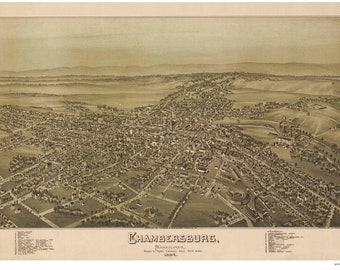 Chambersburgh Pennsylvania - 1894 - Birds Eye View Reprint