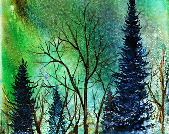 Ethereal Night: Fine Art Print from Alcohol Ink Painting