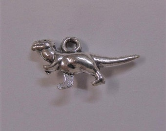 11mm Dinosaur Silver Toned Charms 5CT. Y39