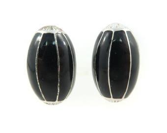 Vintage, Black Enamel, Earrings, Silver Tone, Clip Ons, STS88