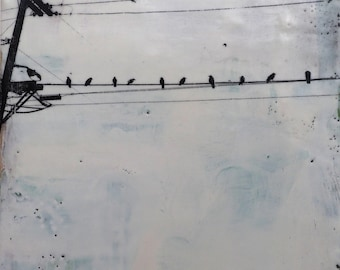 Birds on a Wire, original encaustic painting, wall art on cradled panel