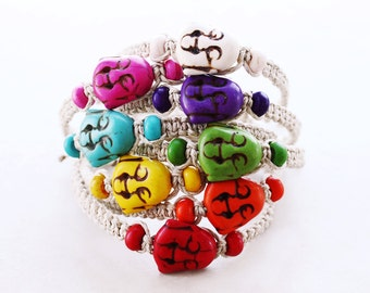 Buddha Bracelet - Colorful Howlite Hemp Bracelet - Hemp Jewelry