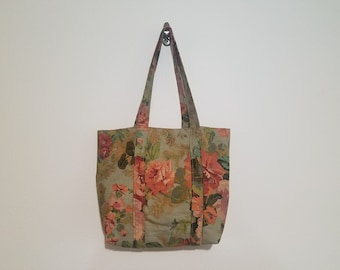 Tote Bag / Upcycled / Olive Floral