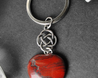Red Jasper Heart and Celtic Knot Charm Keyring