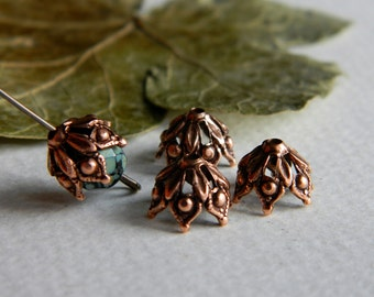Filigree Bead Caps Bohemian Findings Antique Copper Bead Caps Brass Findings Jewelry Making Bead caps 9mm Made In USA Jewelry Supplies (6ps)