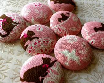 LAST SETS - Extra-large Buttons - Lace Design with Cats, Squirrels, and Designs - Animal Fabric Covered Buttons - Lacy Animal Silhouettes
