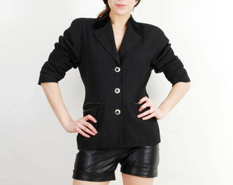 Vintage Blazer / Laurel Blazer / Black Blazer / Woman Wool Blazer / Blazer Size 36