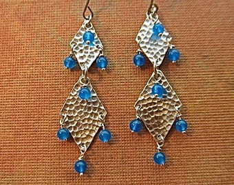 sterling silver earrings with blue quartz beads
