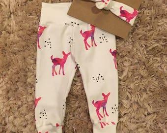 organic baby leggings and headband set | baby pants | toddler leggings | toddler pants | organic baby | baby shower gift | take home