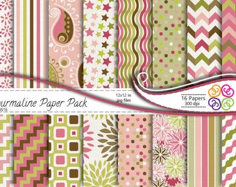 Floral Digital Paper Paisley Chevron Stripes Pink Green Digital Scrapbooking, Commercial Use ,Instant Download