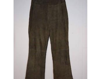 Vintage suede flared pants || maat 36/38