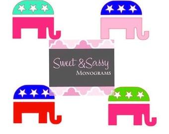 Republican Elephant Car Decal, Republican Sticker, Republican Elephant Decal