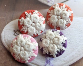 Shabby Chic Embroidery Vintage Classic Romantic Pink Purple Orange Dark Red Colorway Roses-Handmade Fabric Covered Buttons(4Pcs, 1.1 Inches)
