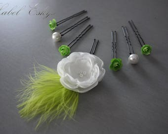 set of 7 bridal hair flowers white and lime green