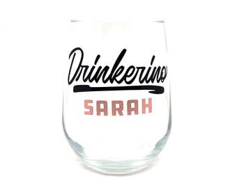 "My Favorite Murder - ""Drinkerino"" Stemless Wine Glass"