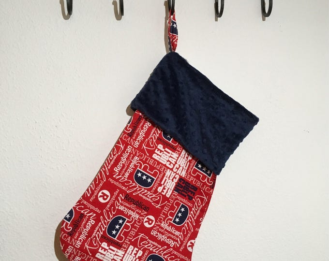 Red Republican Stocking with minky cuff Christmas Decor Trump RTS