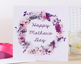 Happy Mother's Day Wreath Card - Mother's Day card - Pretty Mother's day card - Card for mum - Simple card for mum - Happy Mothers Day card