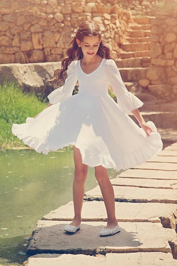 Holiday Dress Girls Flower Girl White Dress First Communion