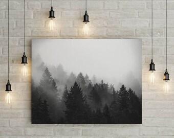 Fog Forest Print - Printable Wall Art, Printable Poster, Landscape Photo, Trees Print, Fog photo, Nature Photo, Digital Download