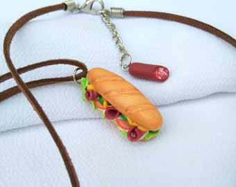 Sandwich necklace Baker mums gift Breakfast jewelry Sub sandwich pendant Bakery jewelry Fake food jewelry Sausage sandwich Fast food gift