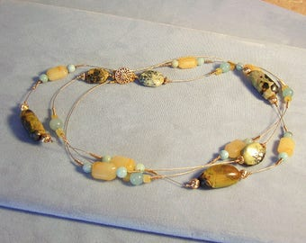 """Turquoise, Jade, and Amazonite Multi-strand Tin Cup Necklace ~ Chunky Yellow and Blue Statement ~ Beaded Gemstone Layered Necklace 14Kt 17"""""""