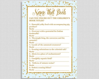 Name That Children's Book Shower Game, Blue & Gold Glitter Confetti Baby Shower Game, Baby Boy, DIY Printable, INSTANT DOWNLOAD