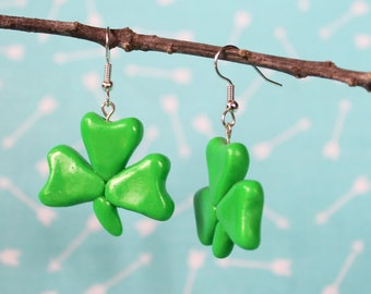 Green Shamrock Earrings, Polymer Clay Earrings