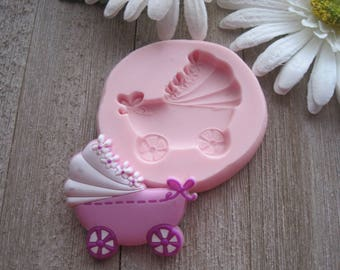 Baby Shower Silicone Molds ~ Baby carriage mold etsy