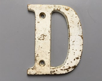 Vintage Letter D, Decorative Letter, Brass Display Letter, Shabby Chic Letter, Industrial Letter A with Chippy Paint