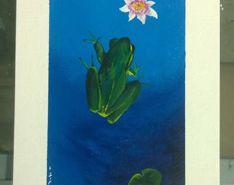 Acrylic Contemporary Painting, 'Frog and Lotus Flower'
