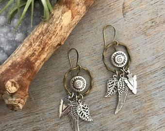 Boho Tribal Arrowhead, Wing, and Leaf Handmade Charm Dangle Earrings